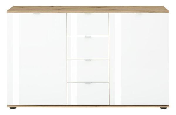 Kommode Vito Glas, Holzwerkstoff Asteiche Weißglas ca. 40 cm x 82 cm x 129 cm