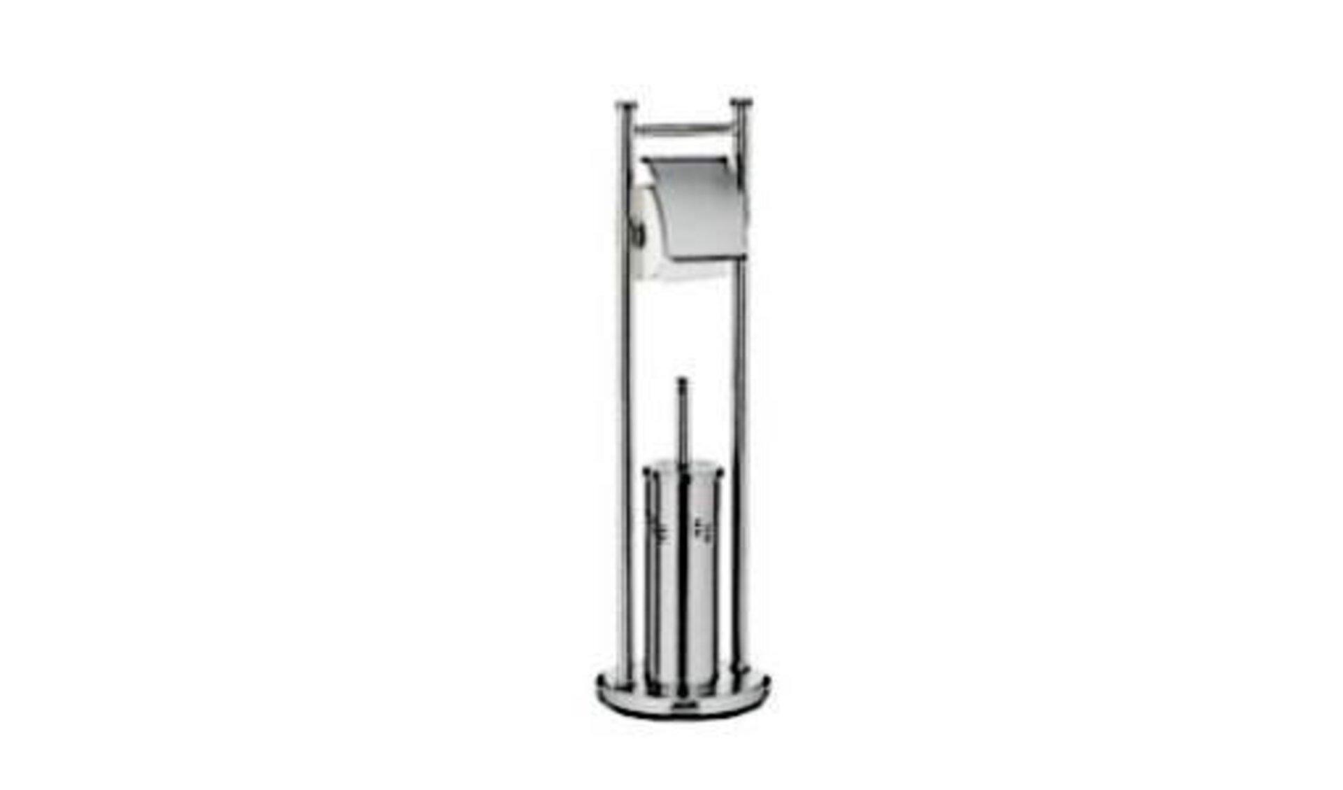 Der Edelstahlständer mit Behälter für die Klobürste im unteren Bereich und Stange für die Klopapierrolle ist Sinnbild für die WC-Bürste und die WC-Garnituren, die in der Produktwelt aufgeführt sind.