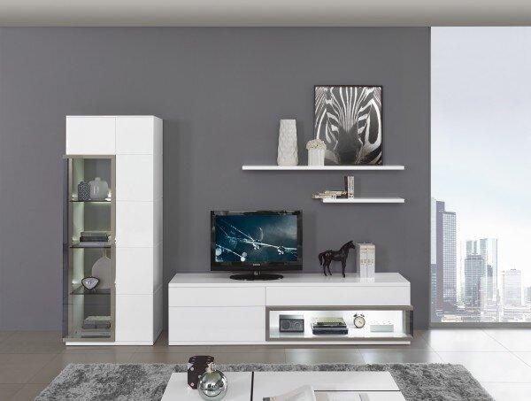 Wohnwand MONDO LB01 Lack hochglanz weiß ca. 47 cm x 190 cm x 291 cm