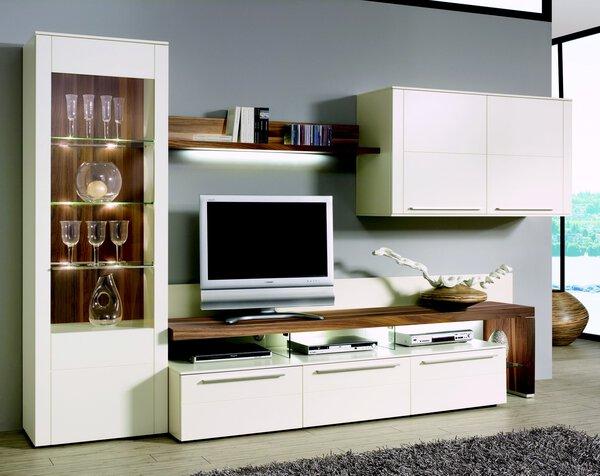 Wohnwand KUBO  Holzwerkstoff Lack seidenmatt weiß ca. 56 cm x 197 cm x 325 cm