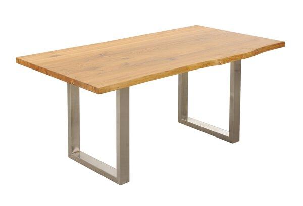 Esstisch Dinett Holz, Metall Wildeiche massiv geölt / Edelstahlfarbig ca. 100 cm x 75 cm x 220 cm