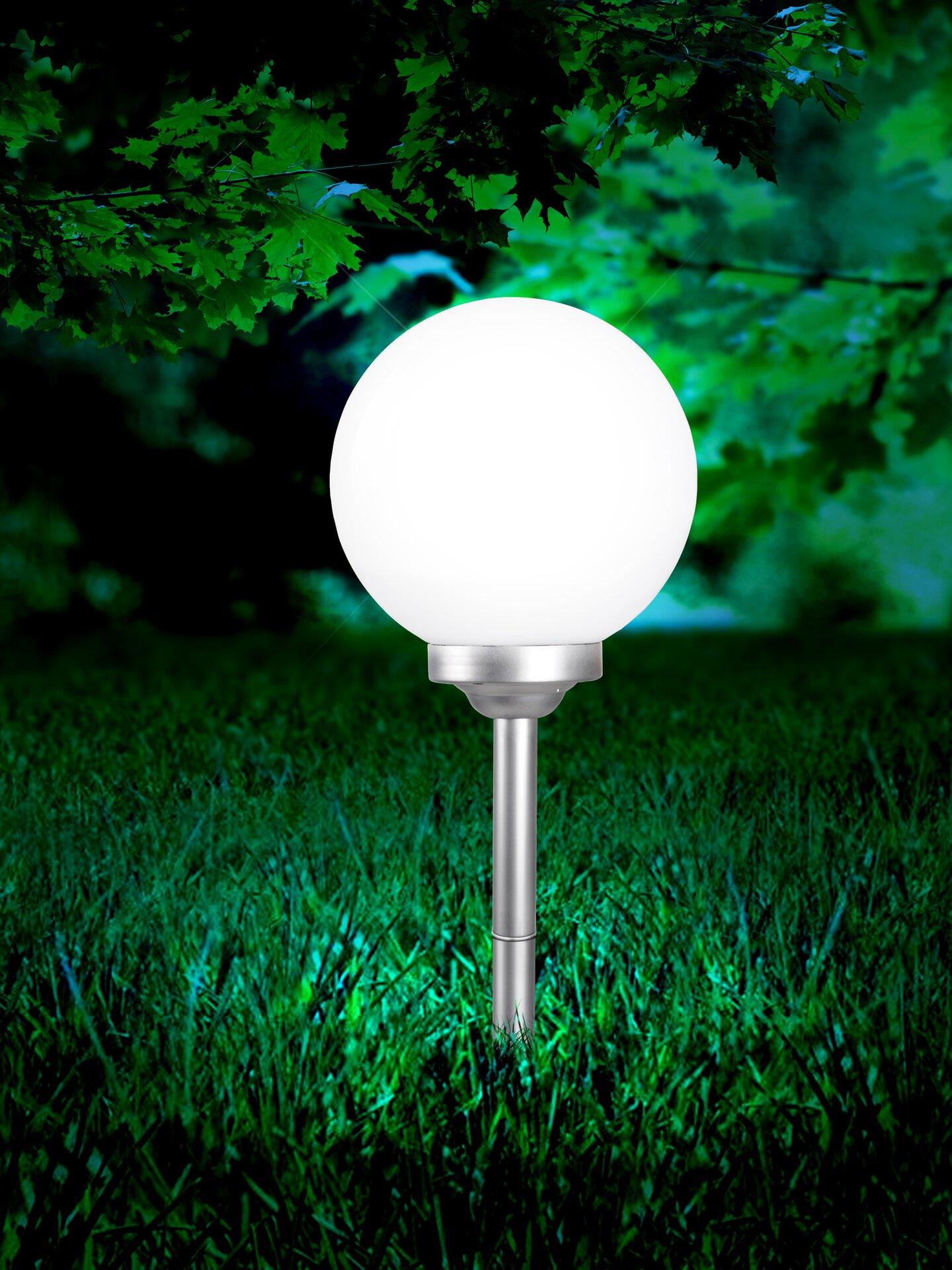 Solarleuchte Solar Kugel Globo Kunststoff weiß 30 x 70 x 30 cm