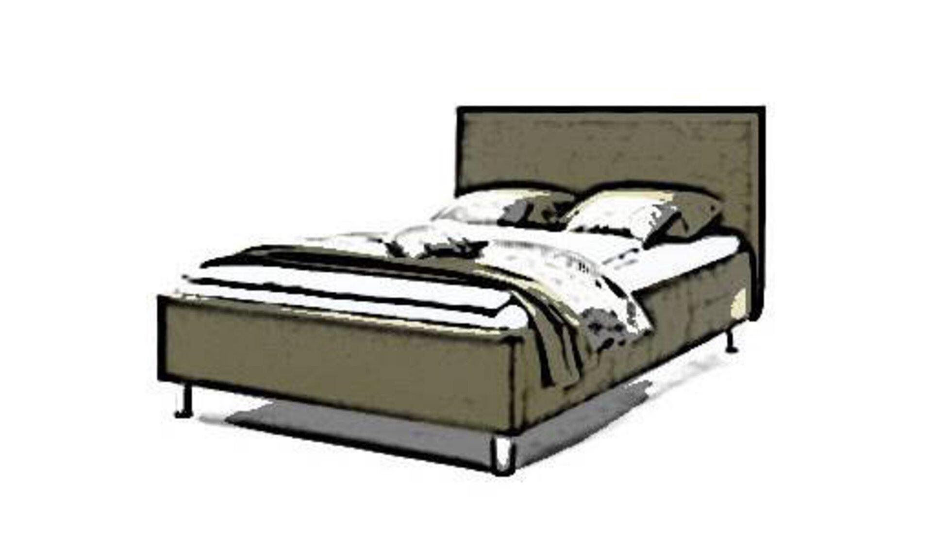 Ein stilisiertes bezogenes Bett als Sinnbild für die in der Kategorie enthaltenen Bettentypen wie Boxspringbett, Polsterbett und Futonbett.