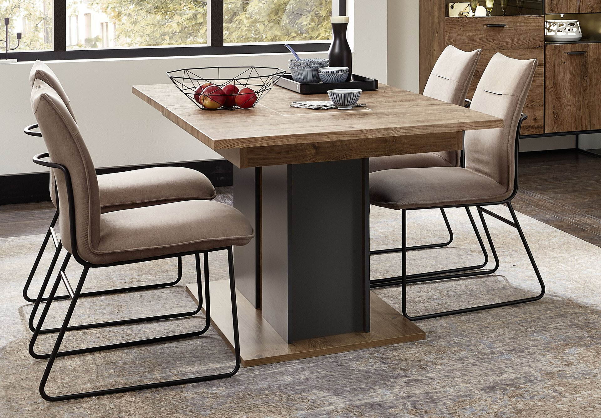 Tisch mit Auszug SWEEP Vito Holzwerkstoff mehrfarbig 90 x 76 x 160 cm