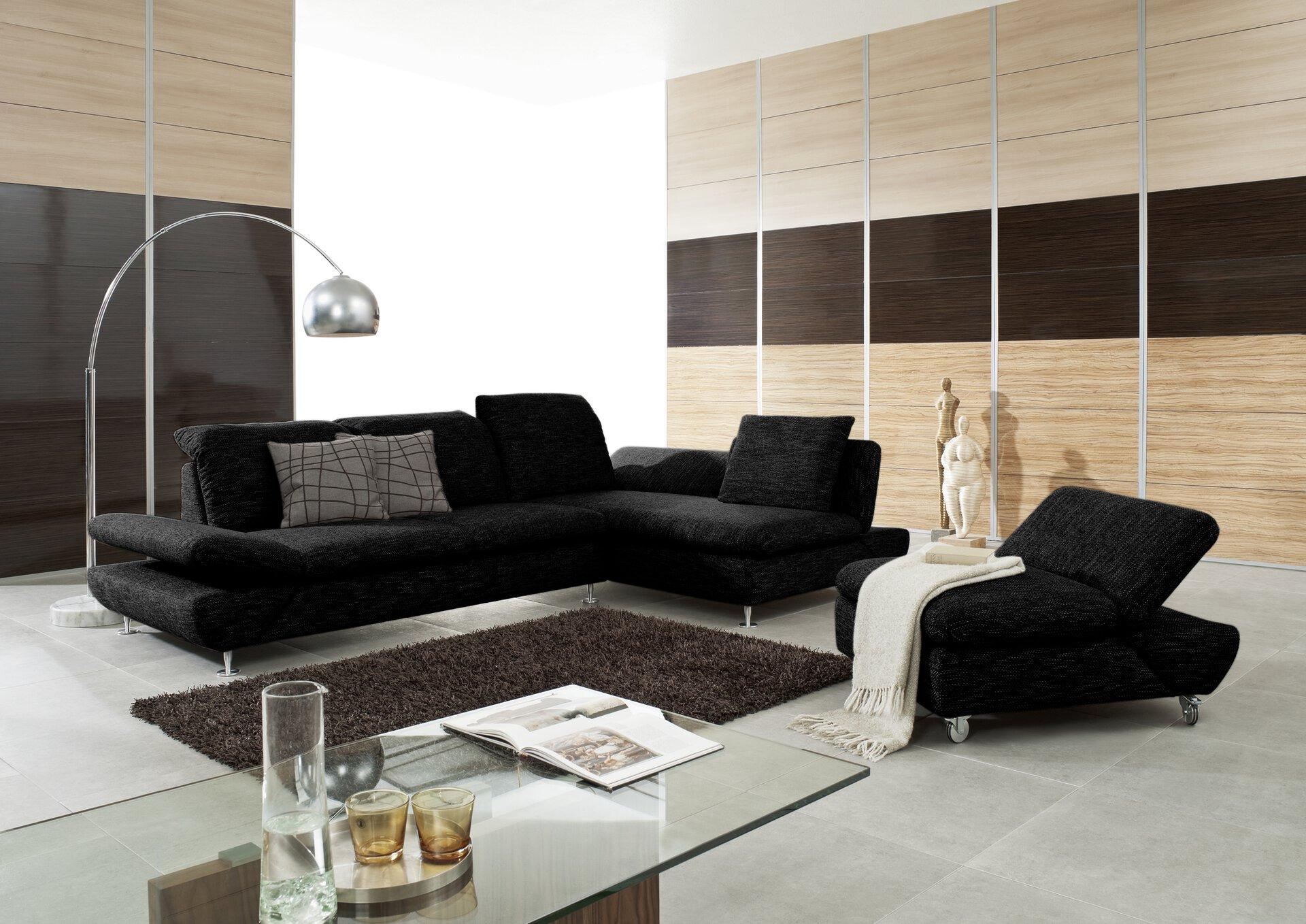 Ecksofa TAOO W.Schillig Textil schwarz 203 x 84 x 314 cm