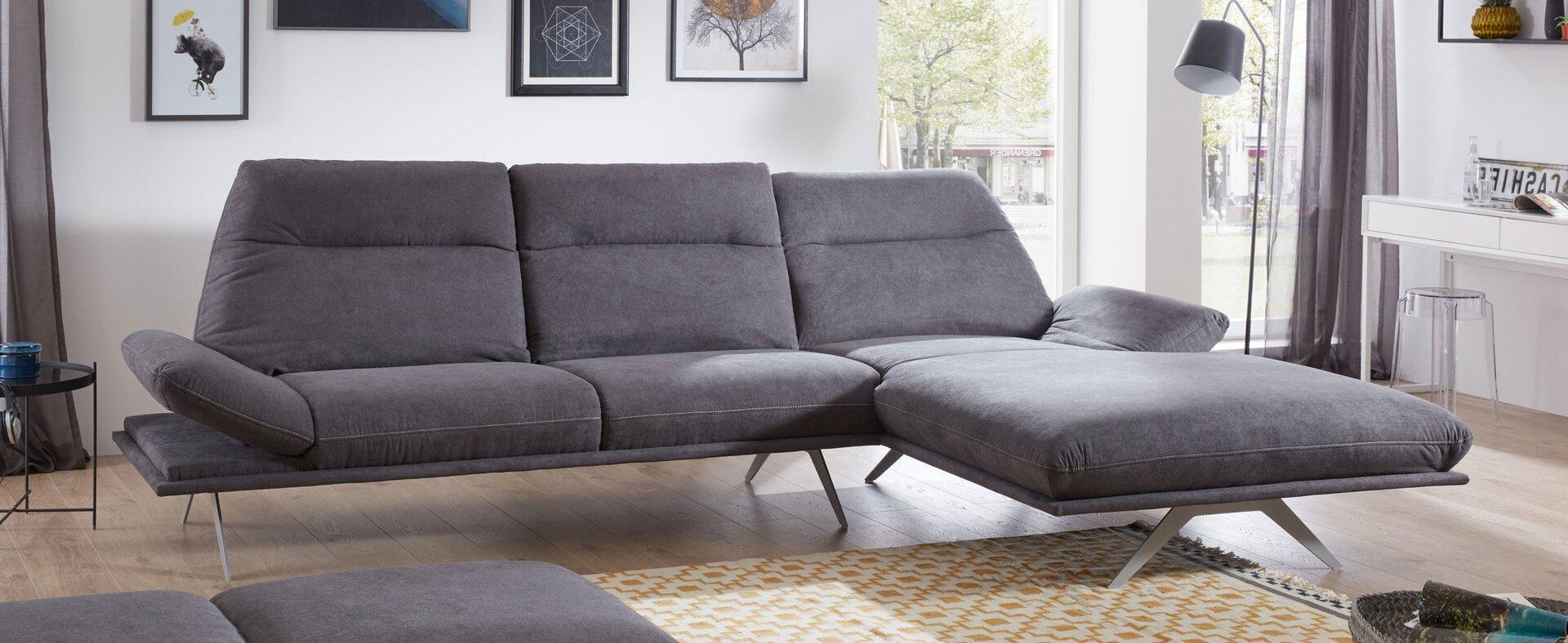 Ecksofa VONOS Vito Textil grau 181 x 128 x 320 cm