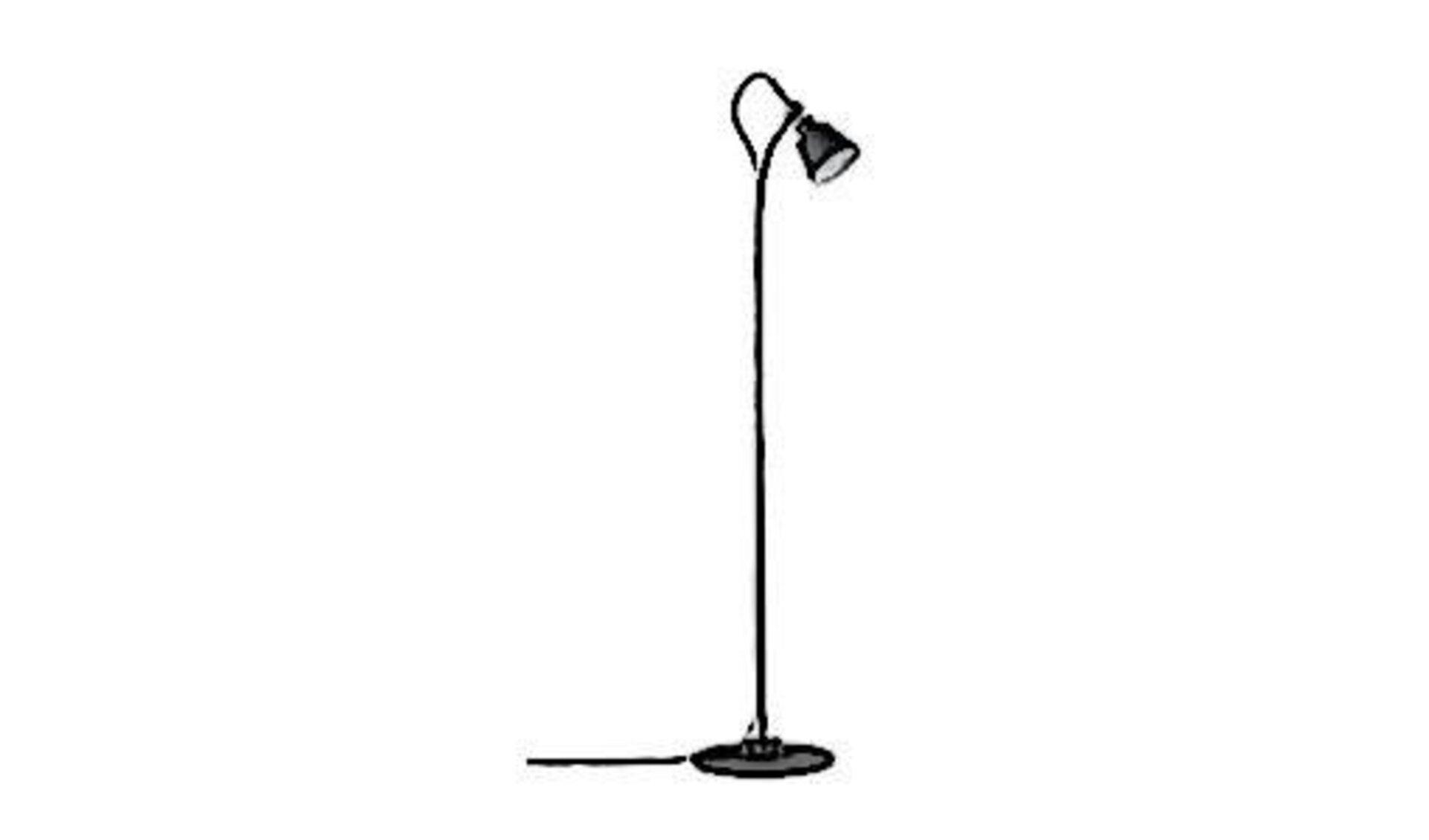 Schwarze Stehlampe mit kleinem Lampenschirm am Ende einer langen, gebogenen Stange steht als Sinnbild für alle Stehlampen.