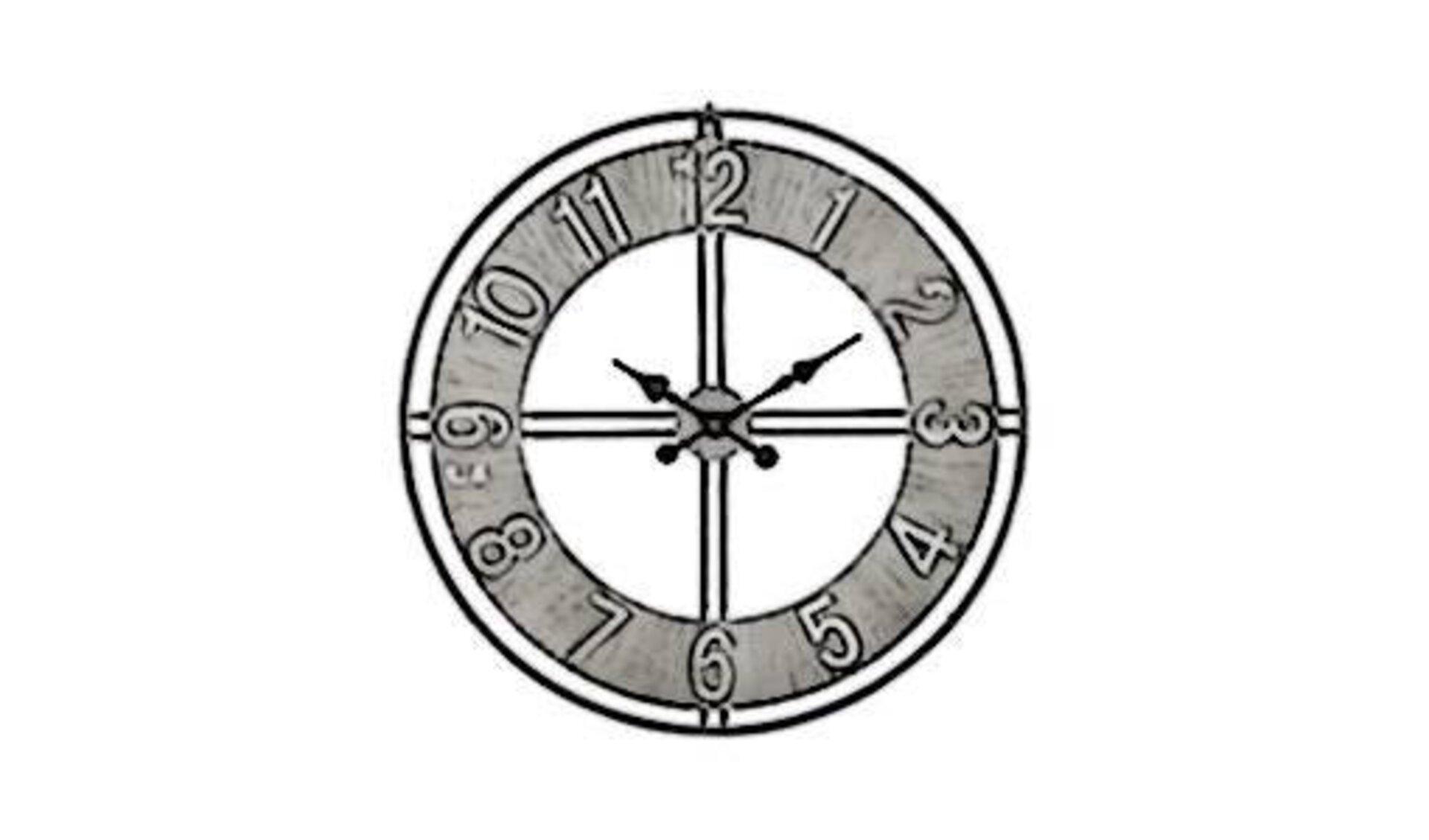 Eine Metalluhr zur Wandaufhängung mit römischen Zahlen steht als Synonym für alle Uhren und Wecker.