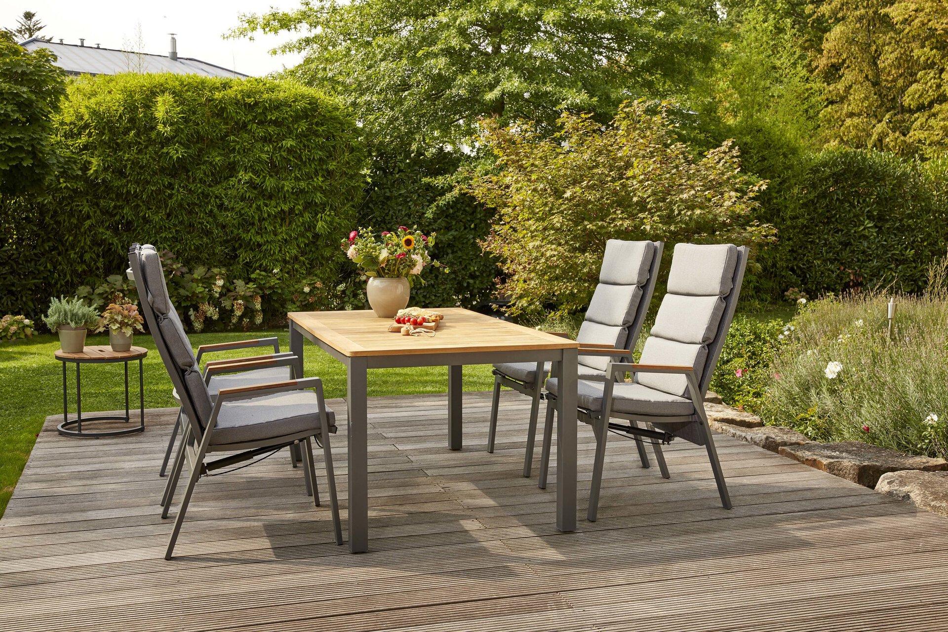 Gartenstuhl SINCRO Siena Garden Textil grau 60 x 109 x 72 cm