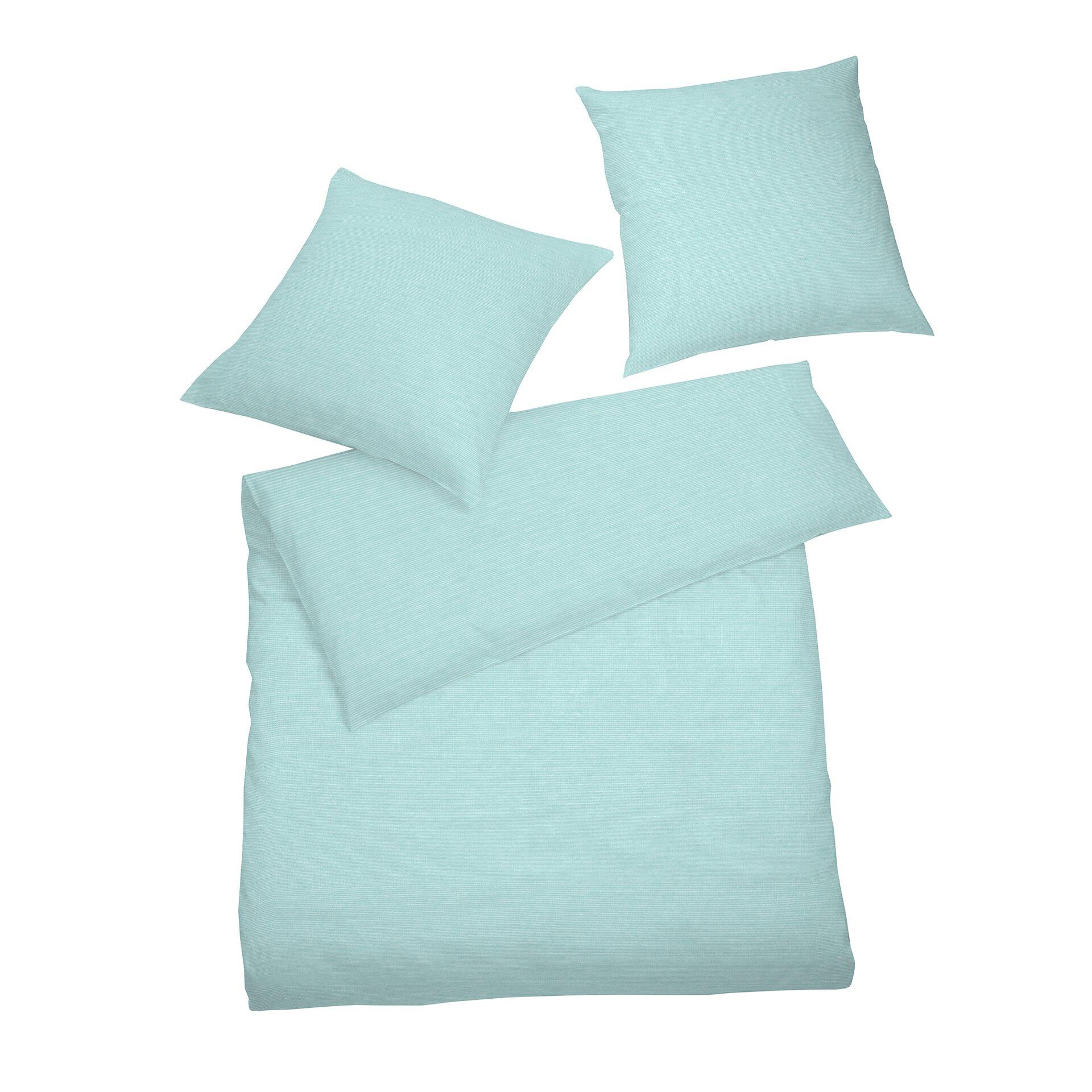 Satin-Bettwäsche Select Schlafgut Textil Blau 200 x 200 cm