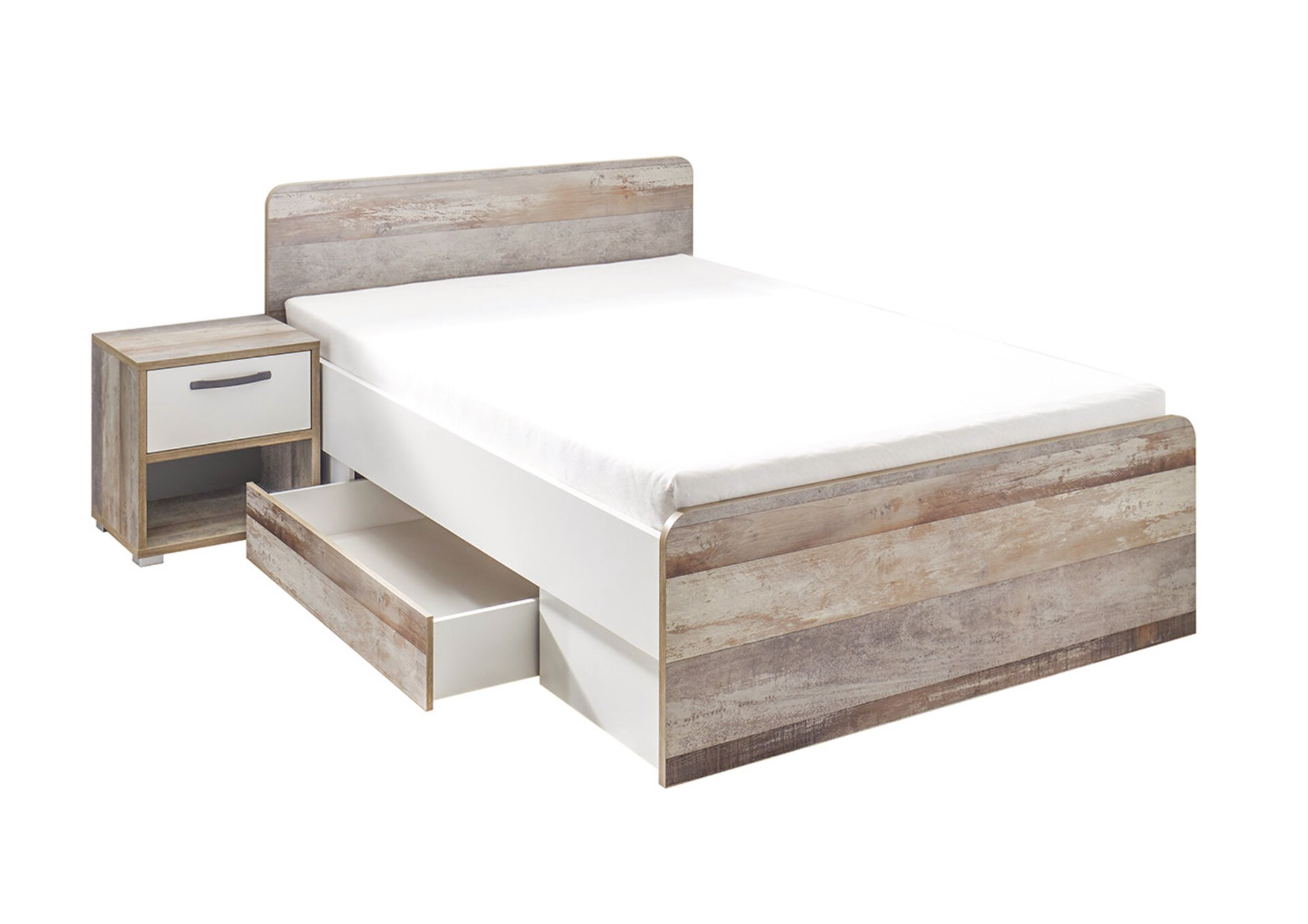 Kinderbett MOON inbuy Holzwerkstoff grau 146 x 89 x 205 cm