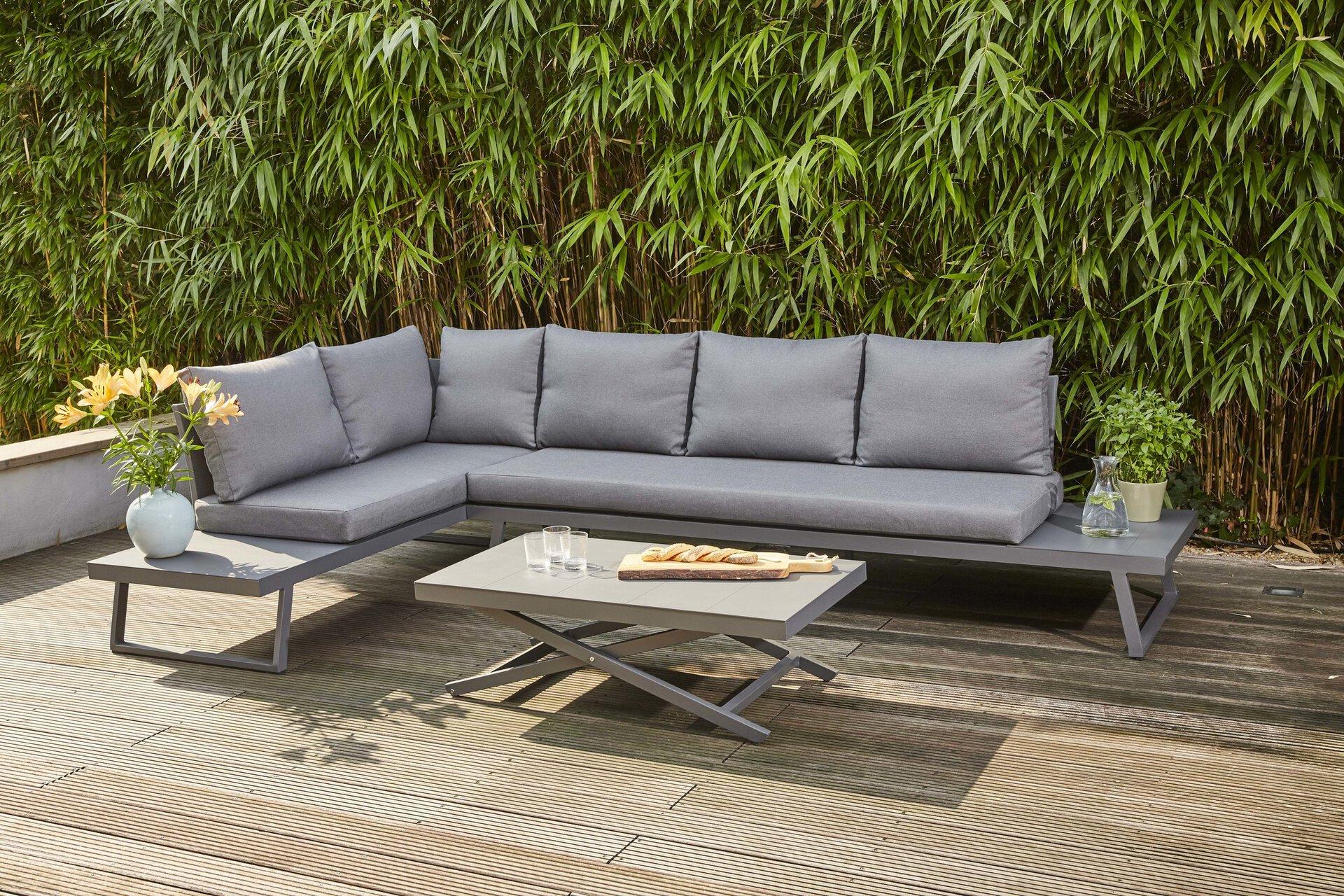Loungetisch Larina Lifttisch Siena Garden Metall grau 110 x 62 x 60 cm