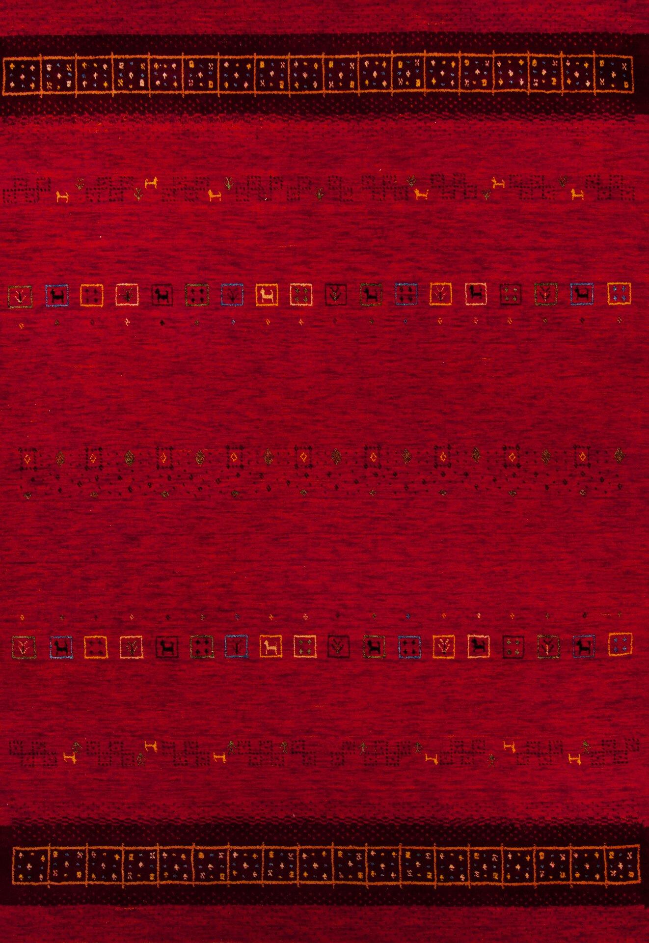 Handwebteppich Lori Star Gold Theko Textil rot 1 cm