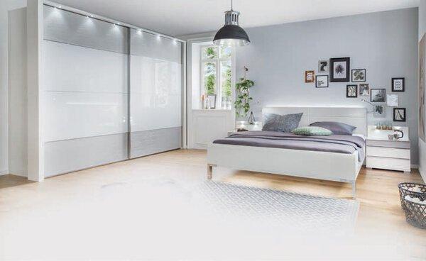 Schlafzimmer MONDO Holzwerkstoff Glas Weiß / Struktur Kieselgrau ca. 67 cm x 217 cm x 300 cm