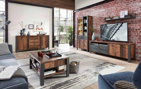 Couchtisch CELECT Holzwerkstoff Used Style Dark Nachbildung ca. 65 cm x 45 cm x 110 cm