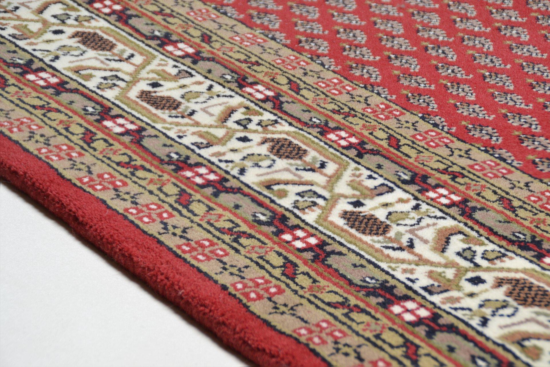 Handknüpfteppich Panipat Theko Textil rot 2 cm