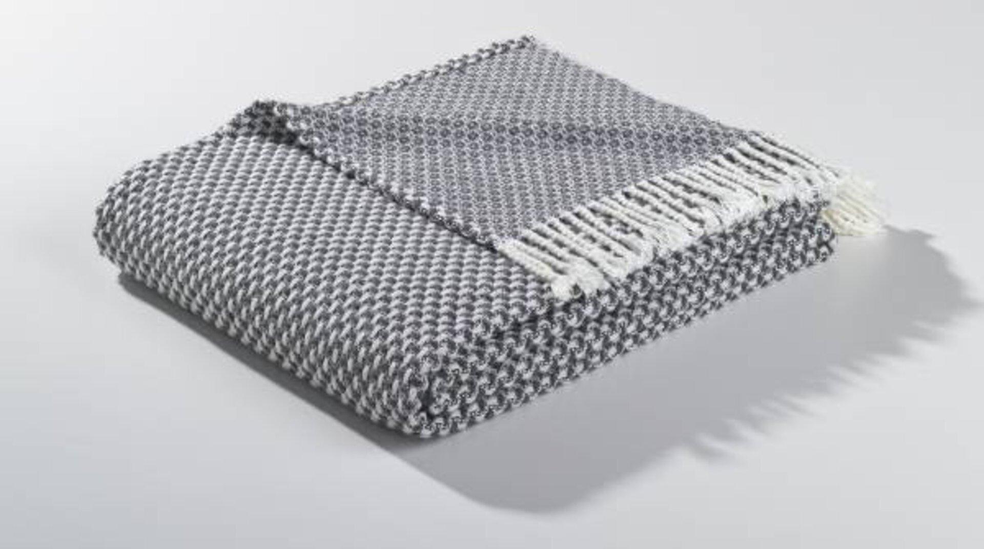 Strickdecke Strickdecke mit Fransen MONDO Textil 150 x 200 cm