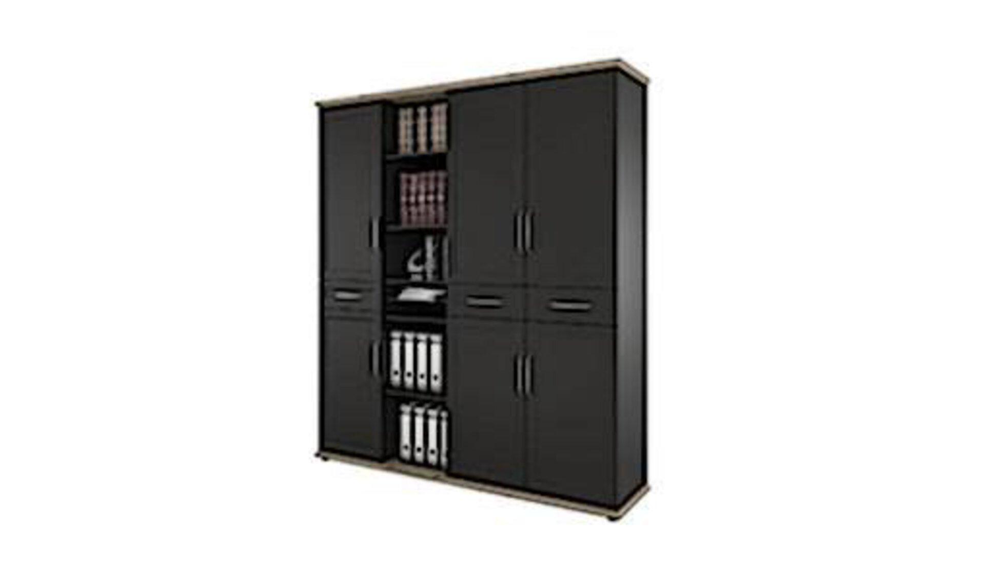 Aktenschrank aus dunklem glatten Holz als Synonym für in der Produktwelt enthaltenen Büroschränke.