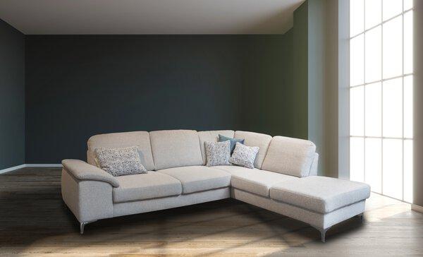 Ecksofa Couch Lifestyle Textil Mono light grey ca. 209 cm x 80 cm x 260 cm