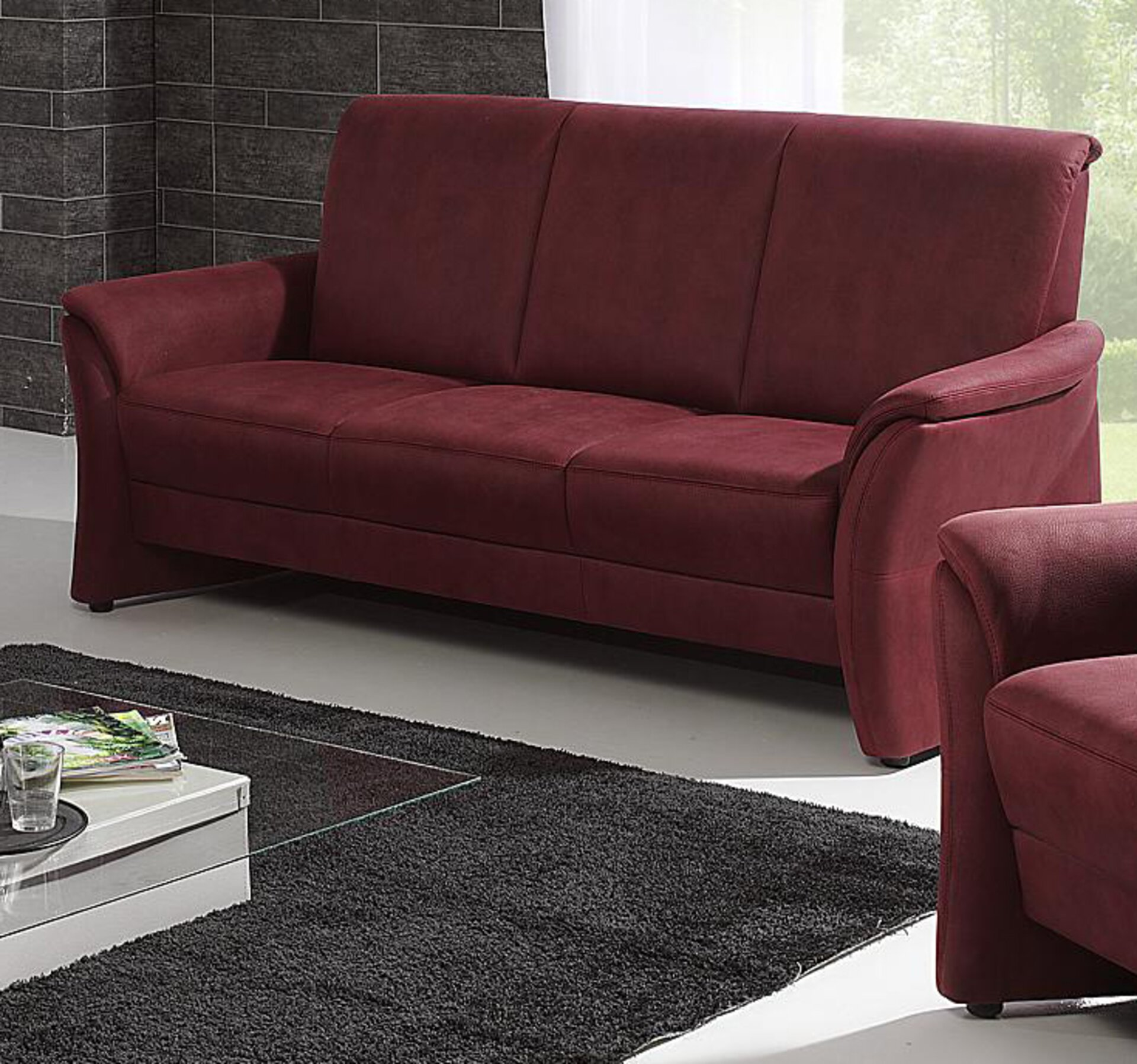 Sofa 3-Sitzer VOLKACH Arco Textil rot 89 x 96 x 188 cm