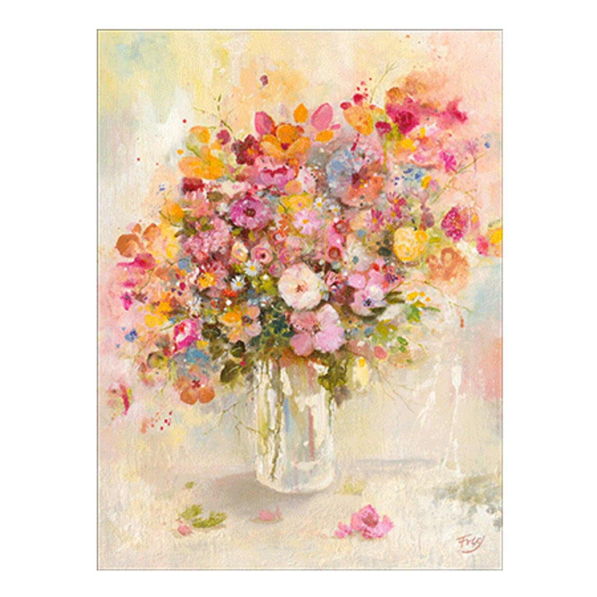 Gemaltes Bild in Pastelltönen zeigt eine Wildblumen-Strauß in einer einfachen Glas Vase