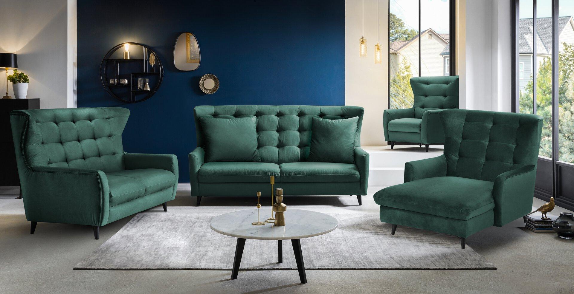 Sofa 2-Sitzer FANTASTICO CELECT Textil grün 108 x 101 x 180 cm