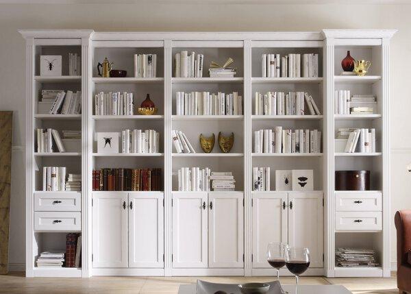 Wohnwand Wehrsdorfer Holzwerkstoff Vintage weiß ca. 40 cm x 226 cm x 343 cm