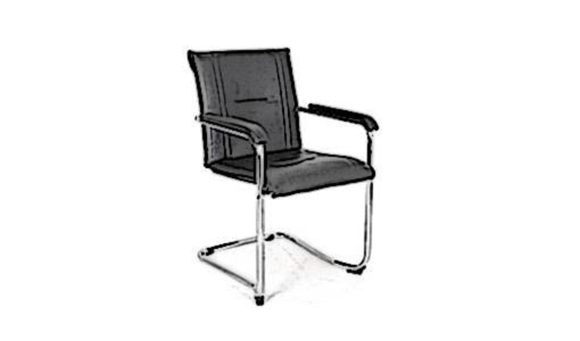 Icon für Konferenzstuhl zeigt einen freischwingenden Stuhl mit schwarzen Lederbezug und geraden Armstützen.