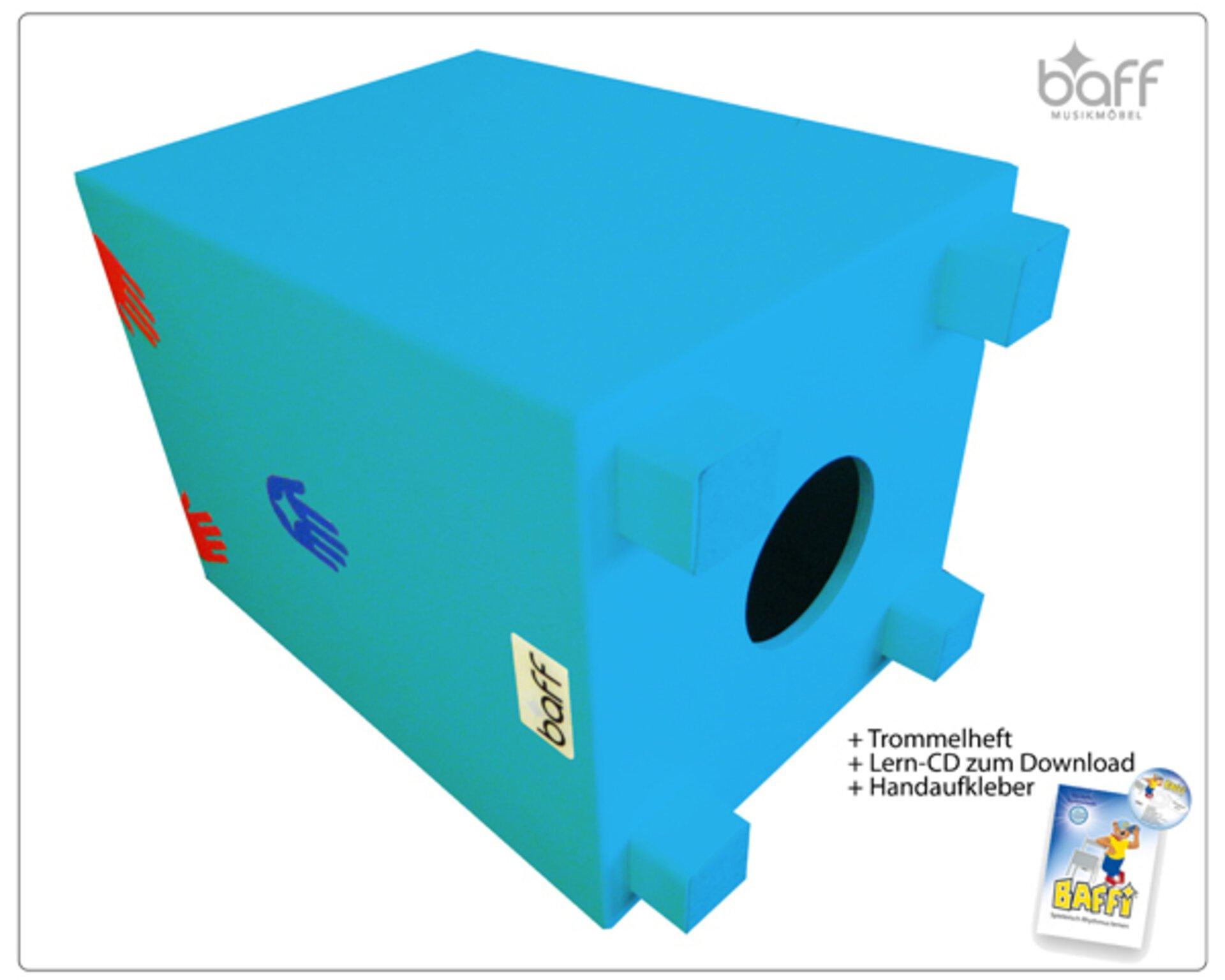 Hocker Baff Holz Blau 26 x 30 x 26 cm