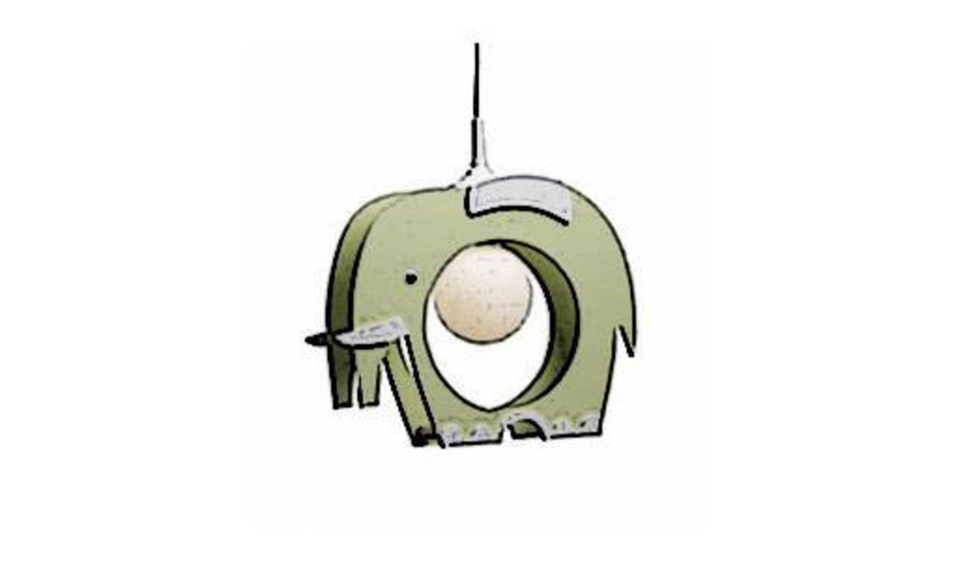 Icon für Kinderleuchten zeigt einen Holzelefanten mit runder Lampe im ausgeschnittenen Bauch.