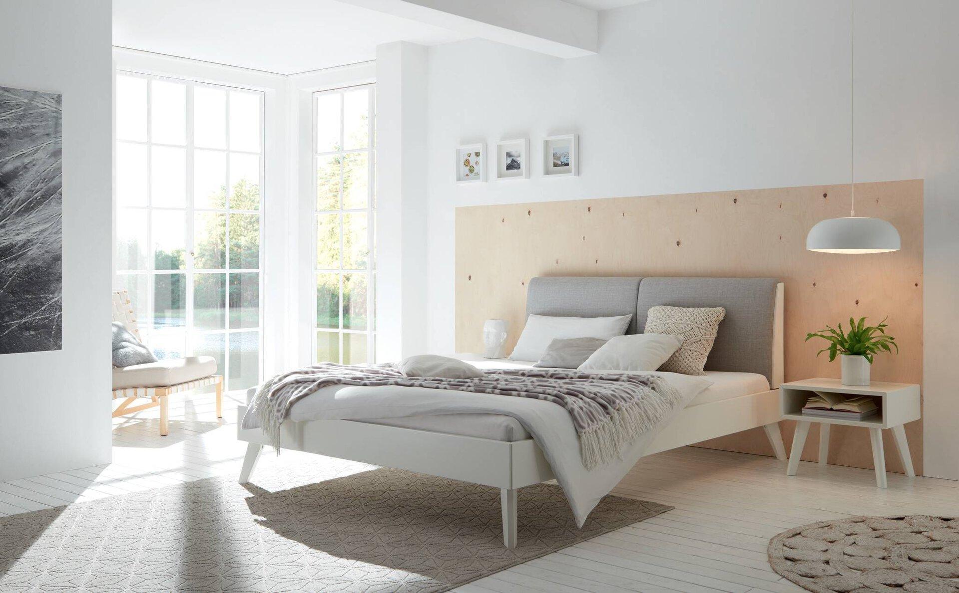 Bett SIMONE Hasena Textil weiß 146 x 91 x 215 cm