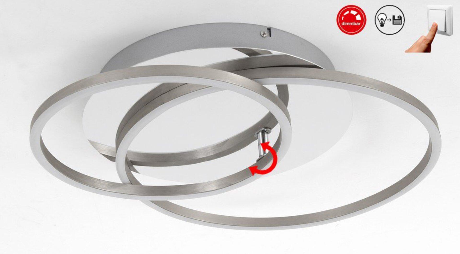 Deckenleuchte Frames Aktion Briloner Metall silber 40 x 8 x 52 cm