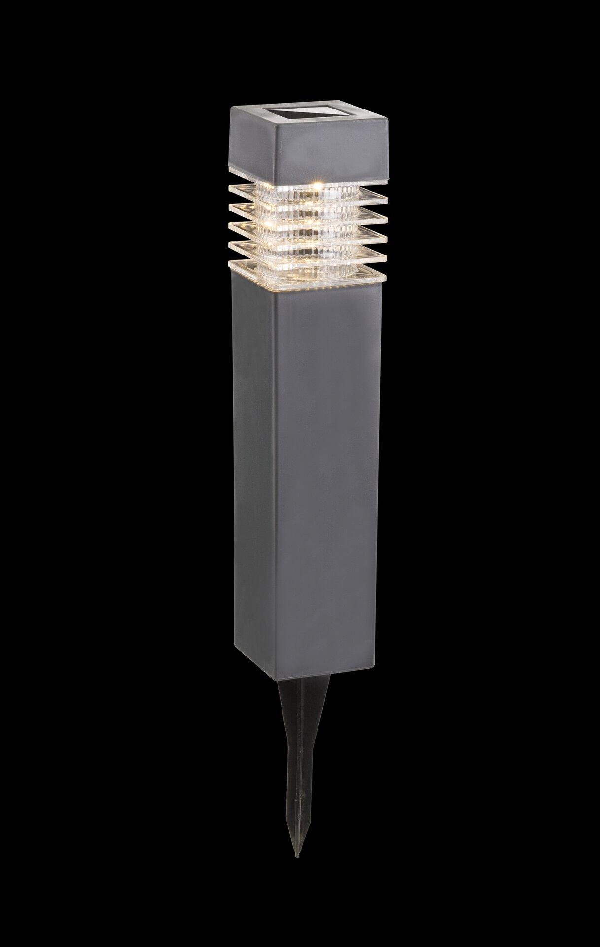 Solarleuchte Solar Globo Kunststoff grau 6 x 39 x 6 cm