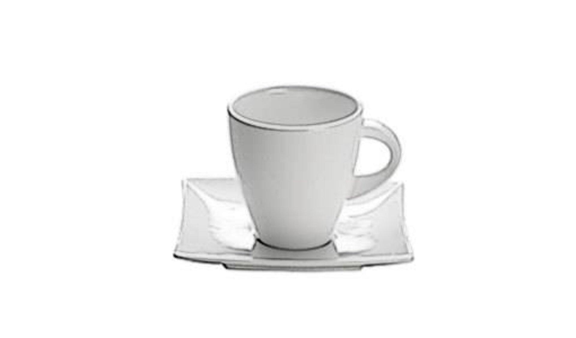 """Porzellantasse auf Untertasse steht für alle Tassen und Becher innerhalb der Kategorie """"Geschirr""""."""
