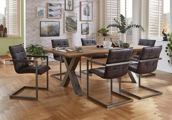 Tisch mit fester Platte VALMONDO Holzwerkstoff Wildeiche Basano geölt ca. 100 cm x 77 cm x 220 cm