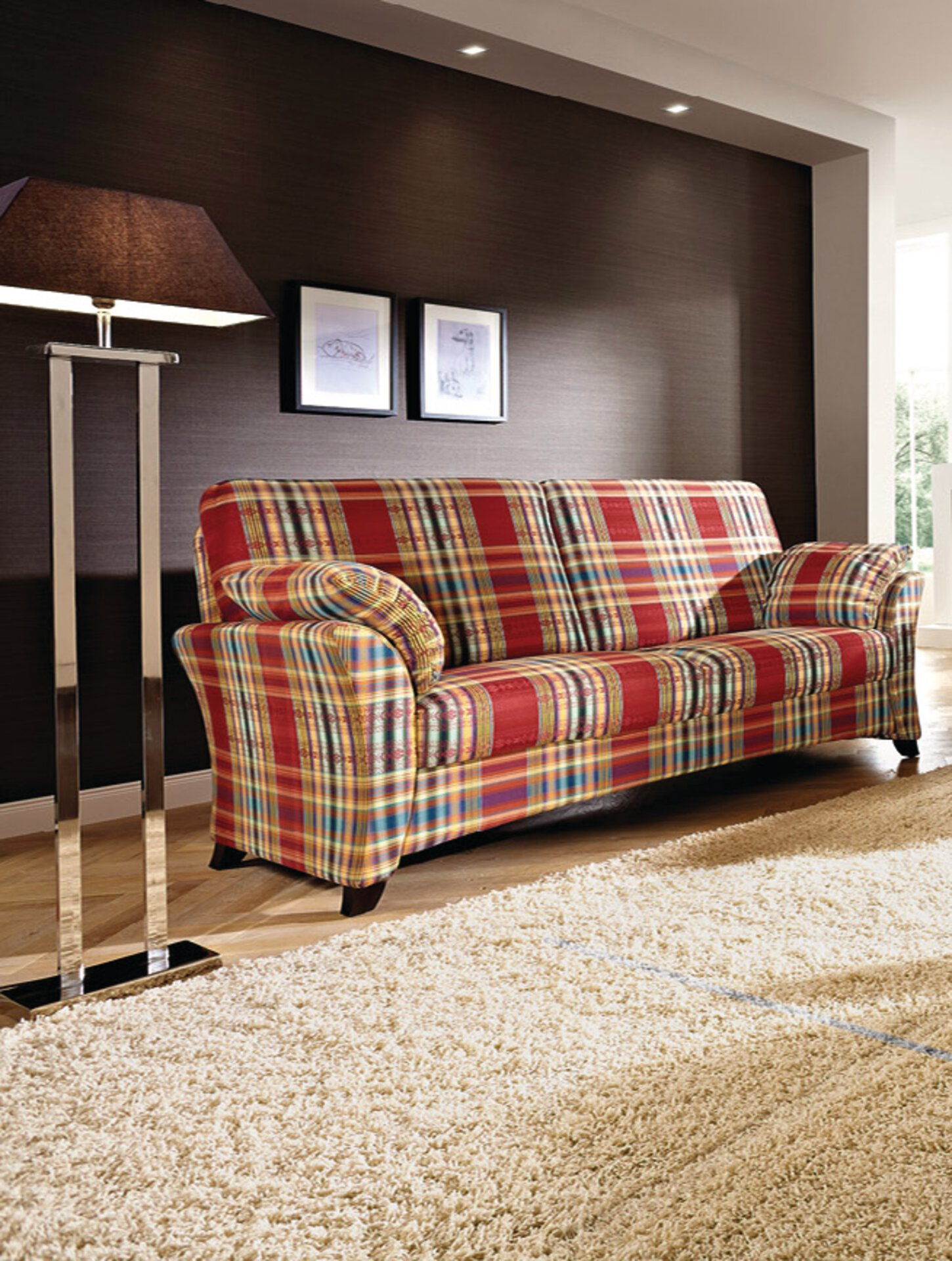 Sofa 3-Sitzer SYDNEY Schröno Textil mehrfarbig 93 x 91 x 196 cm