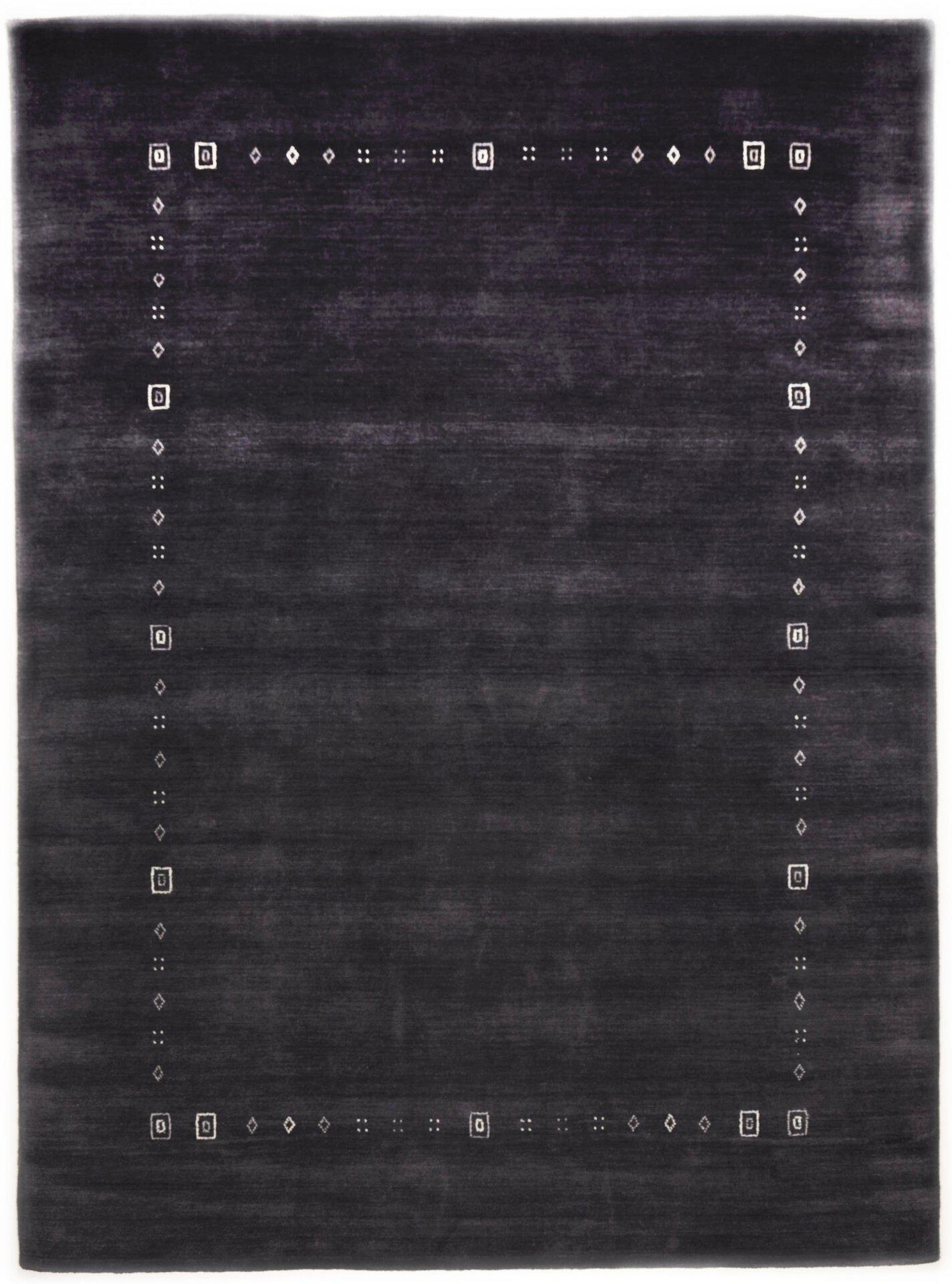 Handwebteppich Lori Star Theko Textil grau 1 cm