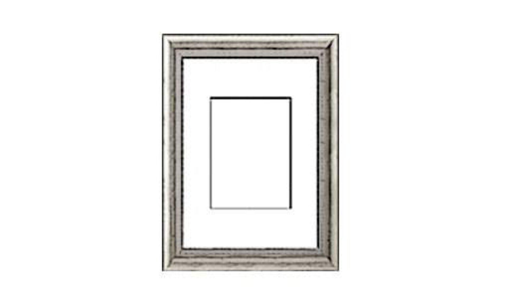 Ein Bilderrahmen aus Metall mit Passepartout. In seiner stilisierten Darstellung steht der Bilderrahmen als Synonym für alle Rahmen innerhalb der Kategorie