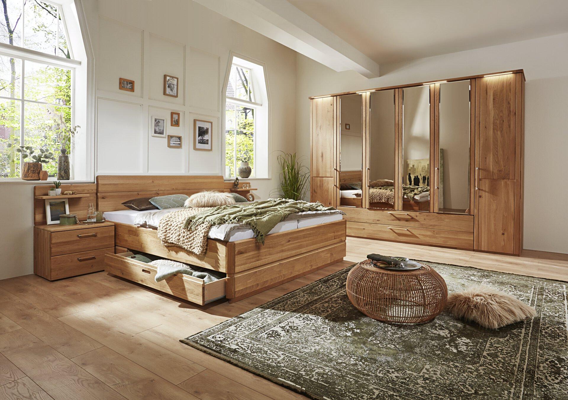 Schlafzimmer Trento Plus VALMONDO Holz braun 208 x 96 x 189 cm