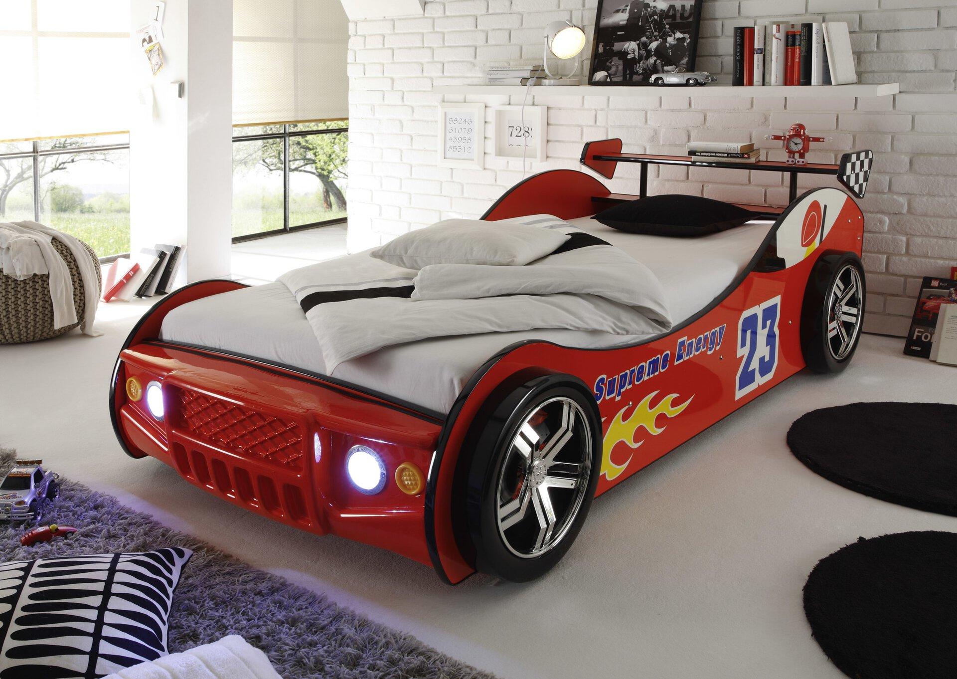 Kinderbett ENERGY inbuy Holzwerkstoff rot 220 x 69 x 109 cm