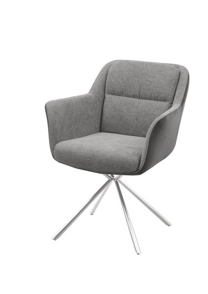 Stuhl Vito Metall, Textil hellgrau ca. 62 cm x 84 cm x 62 cm
