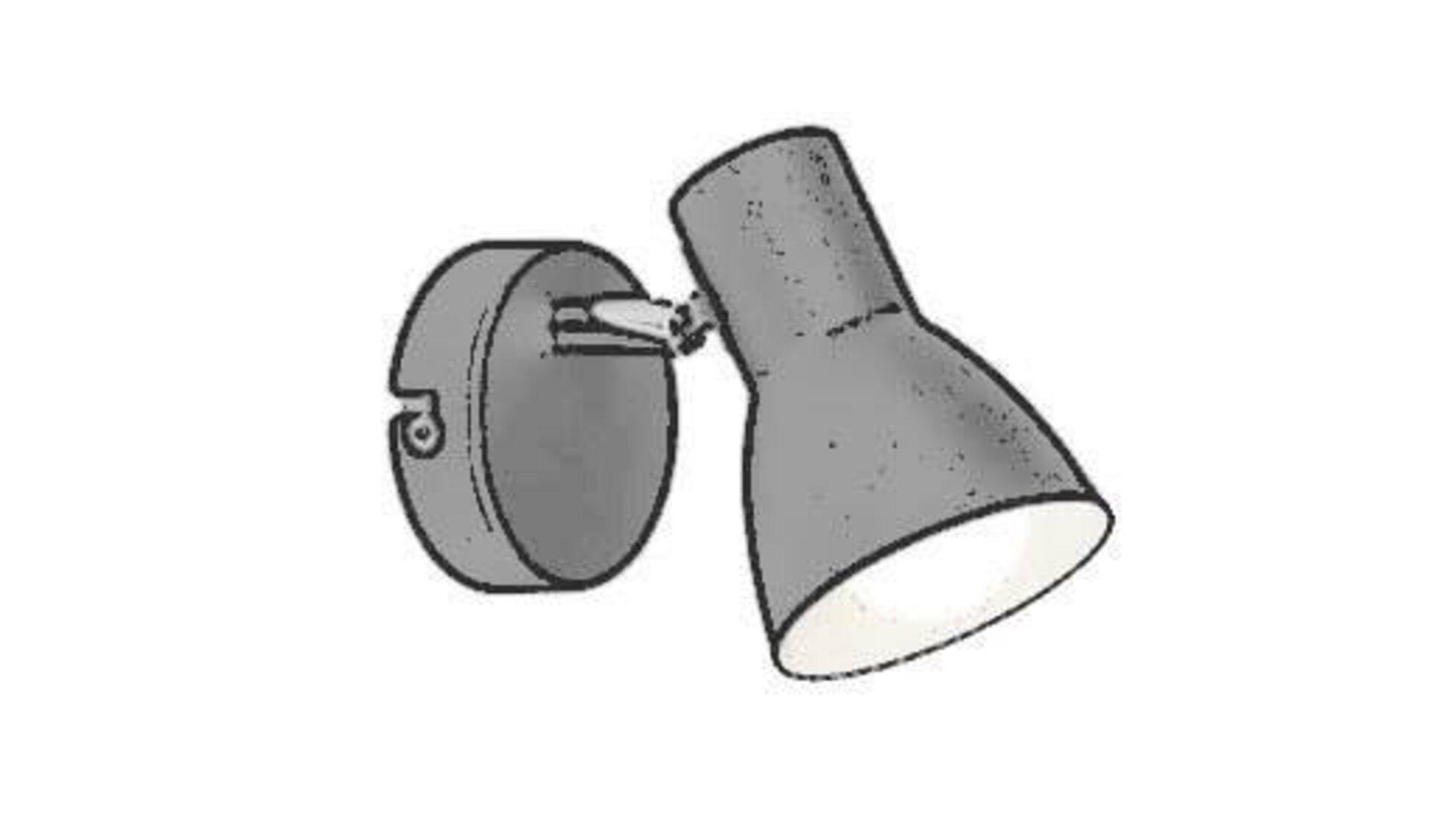 Verstellbarer Strahler zur Wandmontage als Icon für Spots und Strahler innerhalb der Innenleuchten.