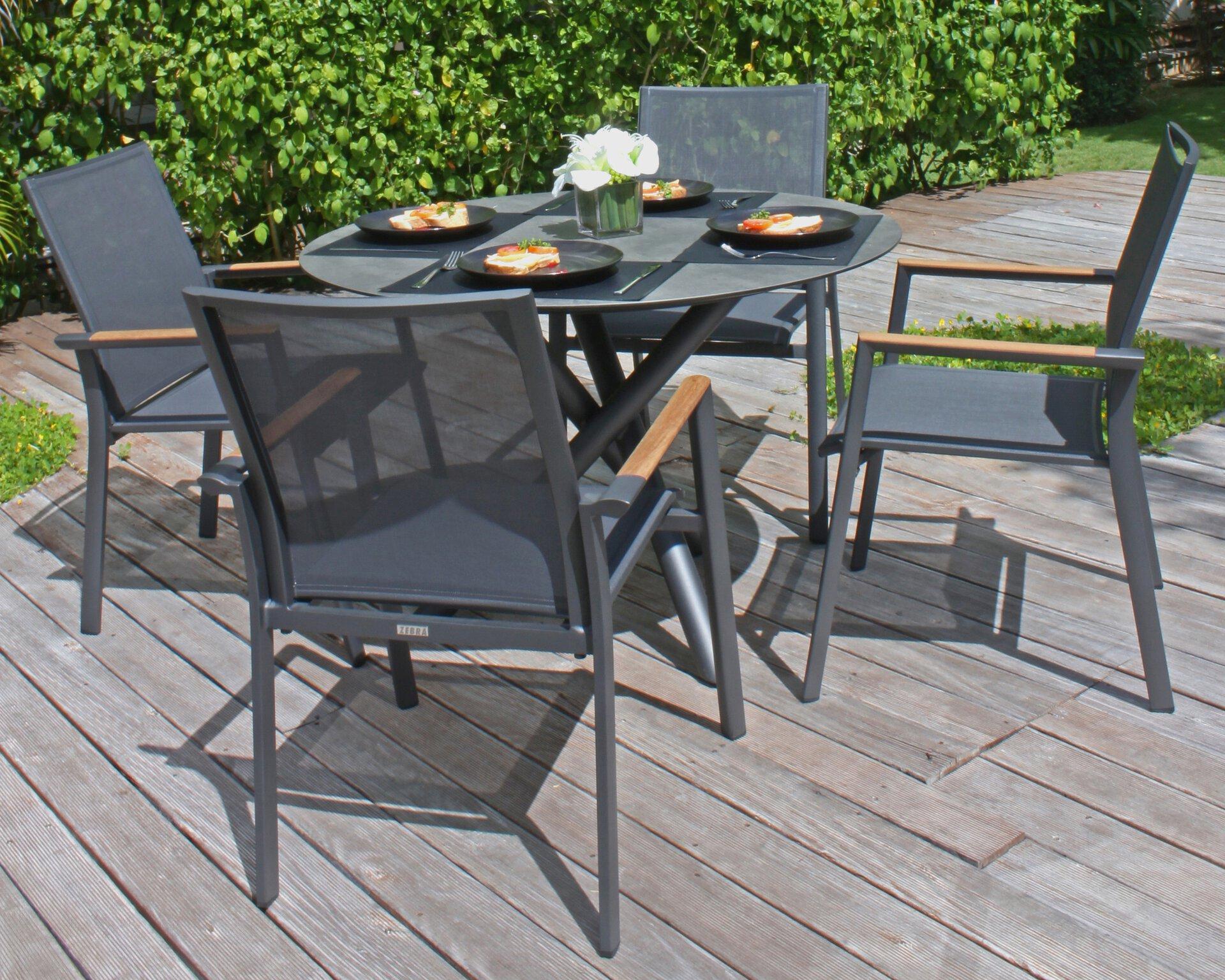 Stapelstuhl FLY Zebra-Süd Textil grau 62 x 91 x 69 cm
