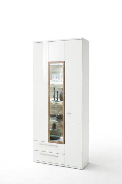 Vitrine Vito Glas, Holzwerkstoff Weiß hochglanz tiefgezogen ca. 37 cm x 207 cm x 90 cm